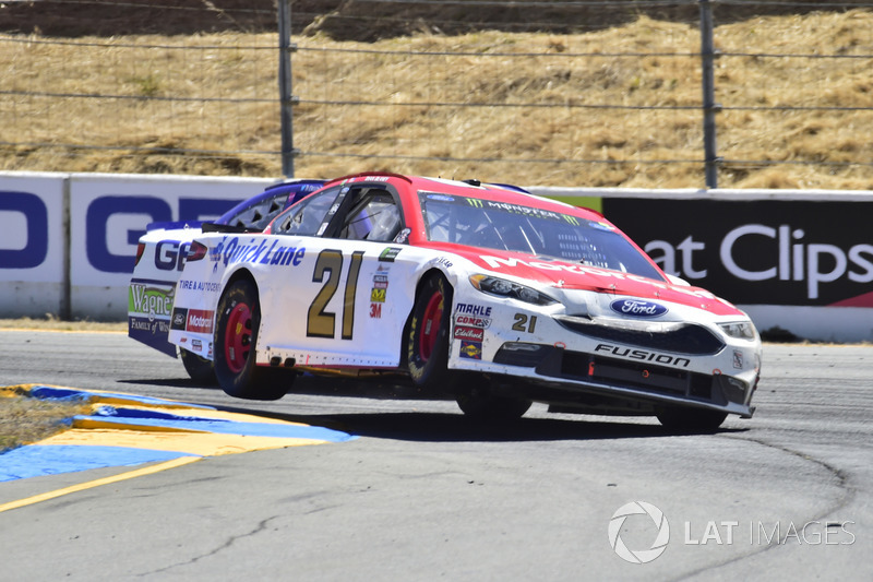 Ryan Blaney, Wood Brothers Racing Ford, Ty Dillon, Germain Racing Chevrolet