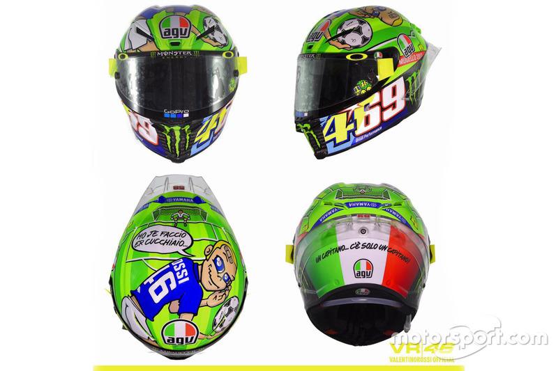 New helmet design of Valentino Rossi, Yamaha Factory Racing