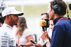 Lewis Hamilton, Mercedes AMG F1, is interviewed after Qualifying