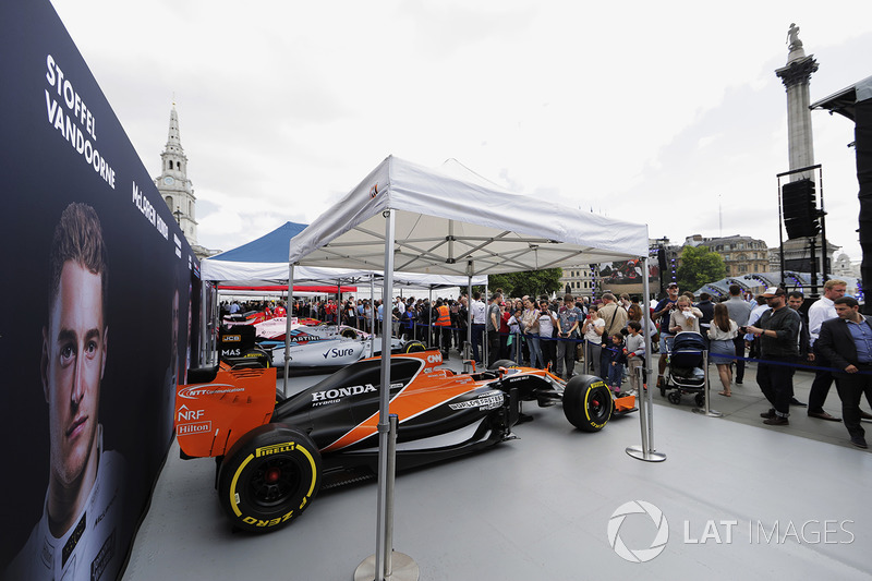 McLaren MCL32 on the McLaren stand alongside the Williams FW40 on the Williams stand