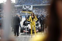 Grid girl of Ben Barnicoat, HitechGP Dallara F312 - Mercedes-Benz
