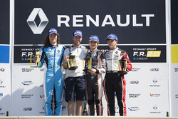 Podium: race winner Lando Norris, Josef Kaufmann Racing, second place Max Defourny, R-ace GP, third