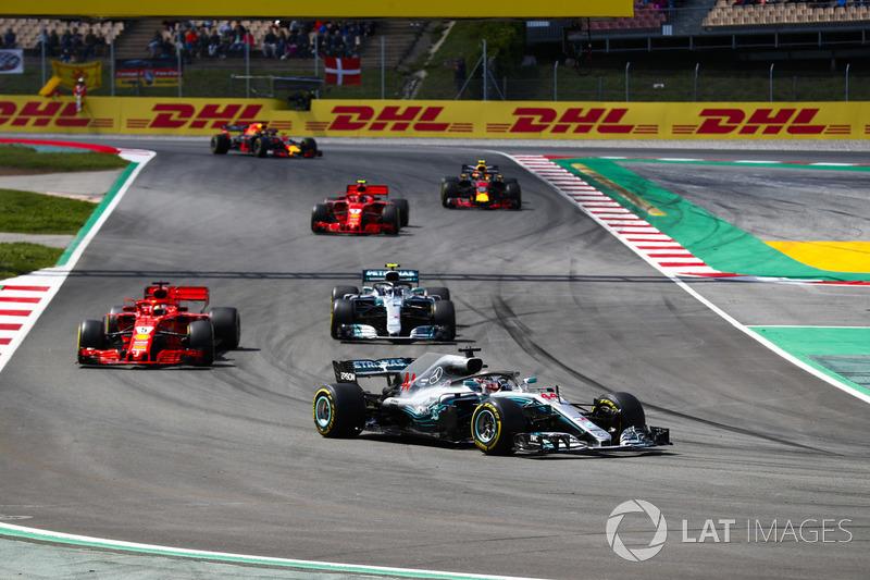 Lewis Hamilton, Mercedes AMG F1 W09, Sebastian Vettel, Ferrari SF71H, Valtteri Bottas, Mercedes AMG F1 W09, Kimi Raikkonen, Ferrari SF71H, Max Verstappen, Red Bull Racing RB14