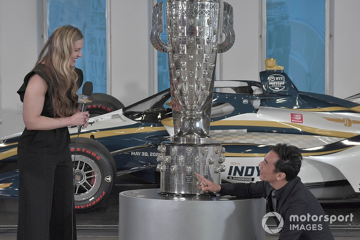Michelle Collins, global director of BorgWarner Inc. and Takuma Sato.