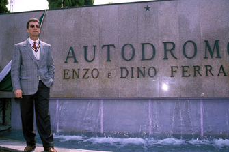 Imola 1989, Piero Ferrari in front of the monument for his father Enzo and his brother Dino Ferrari