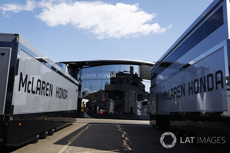 McLaren Honda team trucks and Motorhome