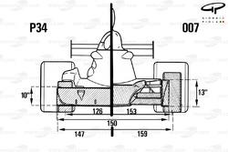 Сравнение шестиколесного Tyrrell P34 1976 года с версией 007, вид спереди