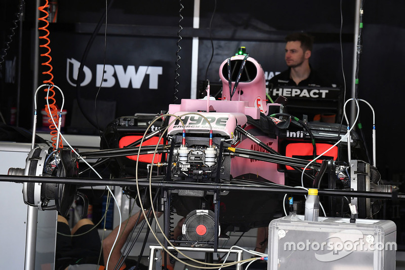 Sahara Force India F1 VJM10 in the garage