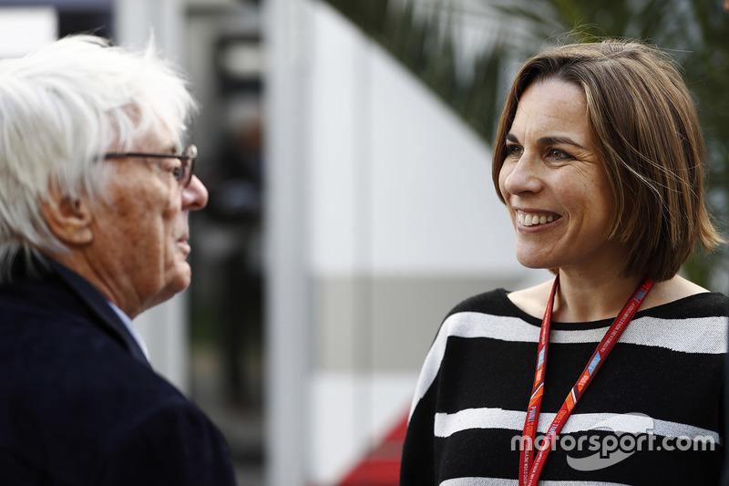 Bernie Ecclestone, Chairman Emeritus of Formula 1, talks to Claire Williams, Deputy Team Principal, Williams