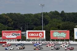 Denny Hamlin, Joe Gibbs Racing Toyota and Elliott Sadler, JR Motorsports Chevrolet