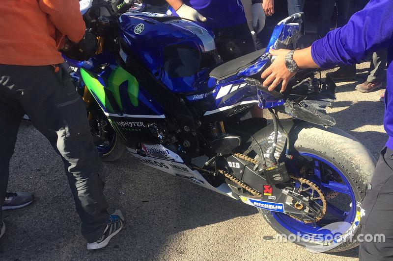 Bike von Valentino Rossi, Yamaha Factory Racing, nach Sturz