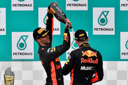 Daniel Ricciardo, Red Bull Racing and Max Verstappen, Red Bull Racing celebrate on the podium, the champagne