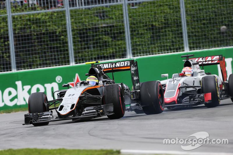 Серхіо Перес, Sahara Force India F1 VJM09 иа Ромен Грожан, Haas F1 Team VF-16 боротьба за позицію