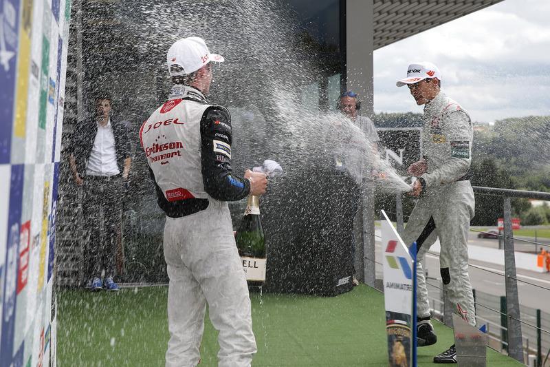 Podium, Joel Eriksson, Motopark, Dallara F312 – Volkswagen; George Russell, HitechGP, Dallara F312 - Mercedes-Benz,
