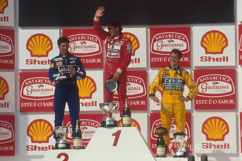 Podium : Ayrton Senna, McLaren, Damon Hill, Williams, Michael Schumacher, Benetton