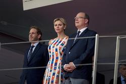HSH Prince Albert of Monaco, and Princess Charlene of Monaco, Charlene Wittstock, on the podium