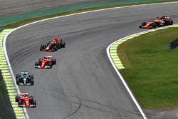 Sebastian Vettel, Ferrari SF70H leads at the start of race