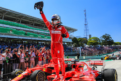 Race winner Sebastian Vettel, Ferrari SF70H celebrates in parc ferme
