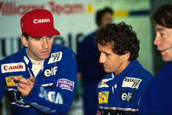 Team mates Damon Hill, Williams and Alain Prost, Williams