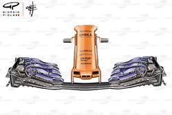 McLaren MCL33, l'ala anteriore del GP di Spagna