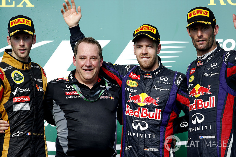 2013 : 1. Sebastian Vettel, 2. Romain Grosjean, 3.Mark Webber