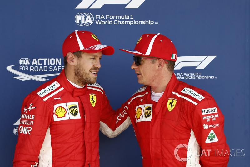 Sebastian Vettel, Ferrari, et Kimi Raikkonen, Ferrari