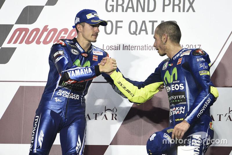 1. Maverick Viñales, Yamaha Factory Racing; 3. Valentino Rossi, Yamaha Factory Racing