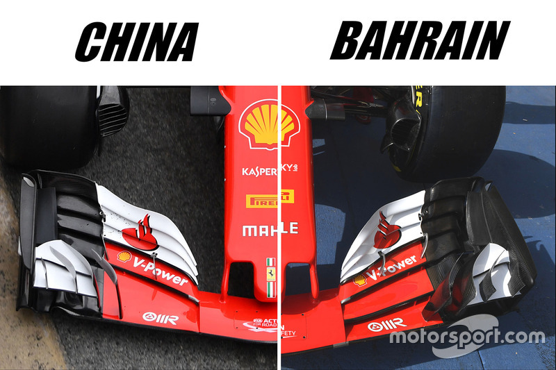 Ferrari SF70H front wing comparison