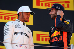 Podium: race winner Lewis Hamilton, Mercedes AMG F1, third place Daniel Ricciardo, Red Bull Racing