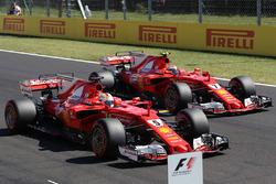 Polesitter Sebastian Vettel, Ferrari SF70-H, second place Kimi Raikkonen, Ferrari SF70-H