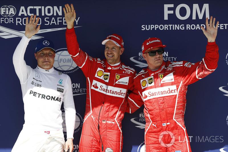 Polesitter Sebastian Vettel, Ferrari; 2. Kimi Raikkonen, Ferrari; 3. Valtteri Bottas, Mercedes AMG F1
