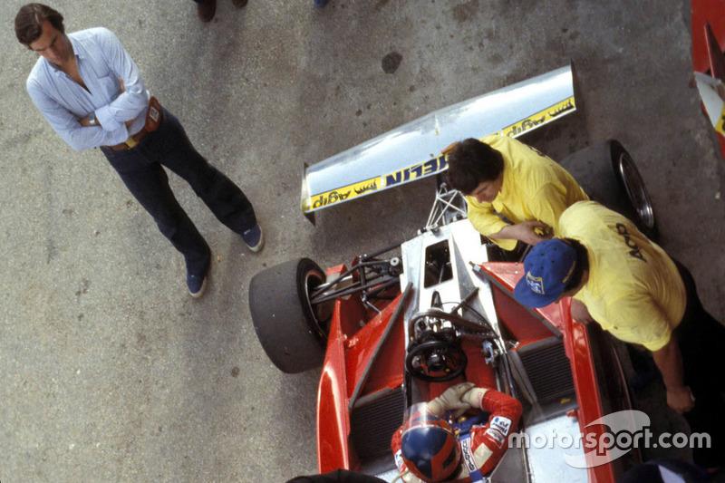 Giorgio Piola y Gilles Villeneuve, Ferrari en Kyalami en 04 de marzo de 1978