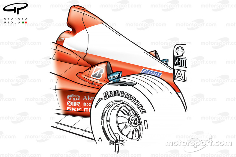 Ferrari F2002, camino del sistema di scarico