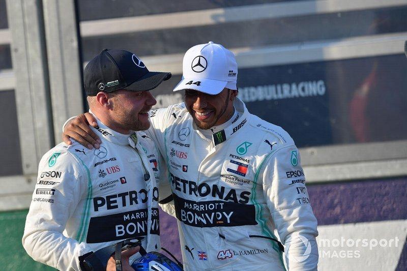 Valtteri Bottas, Mercedes AMG F1, and Lewis Hamilton, Mercedes AMG F1, after qualifying