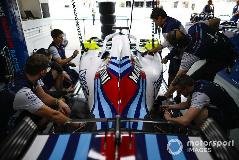 Williams team members at work in the team's garage