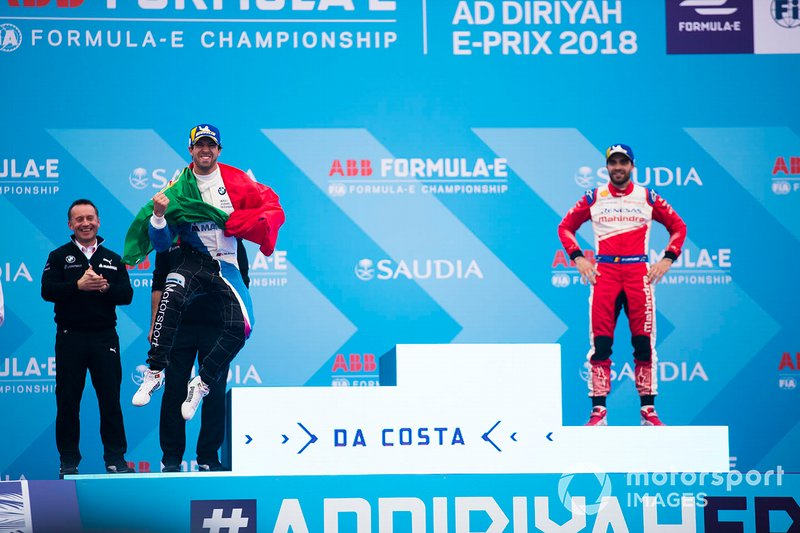 Winner Antonio Felix da Costa, BMW I Andretti Motorsports leaps onto the podium