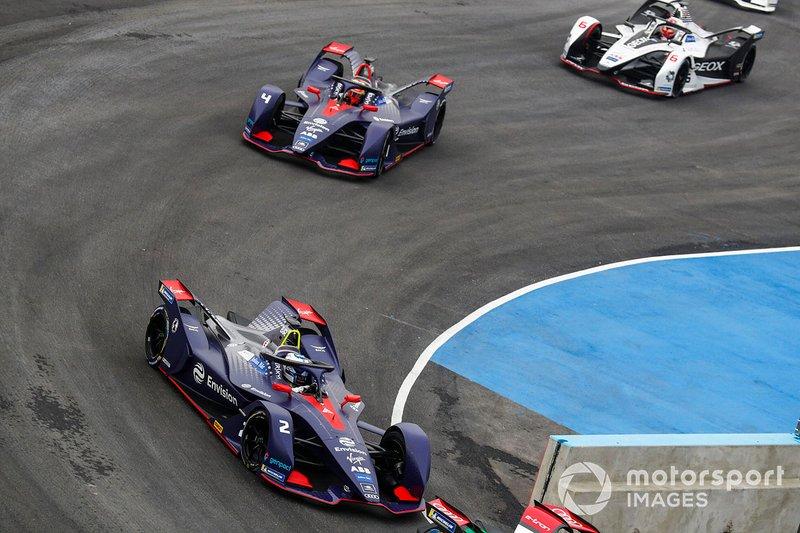 Sam Bird, Envision Virgin Racing, Audi e-tron FE05 Robin Frijns, Envision Virgin Racing, Audi e-tron FE05, Maximilian Gunther, Dragon Racing, Penske EV-3