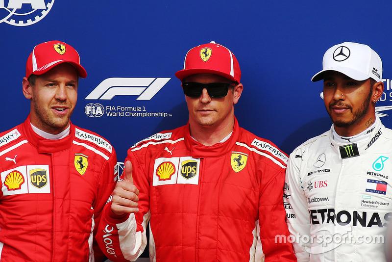 Sebastian Vettel, Ferrari SF71H, Kimi Raikkonen, Ferrari SF71H, Lewis Hamilton, Mercedes AMG F1
