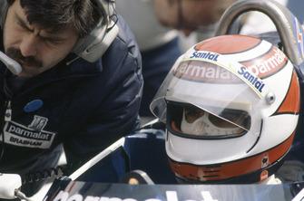 Nelson Piquet, Brabham BT50, mit Gordon Murray