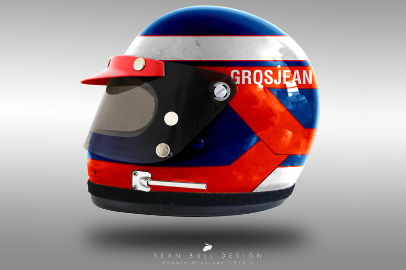 Casco concepto 1970 de Romain Grosjean