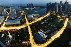 Bird's eye view of the illuminated Marina Bay Street Circuit