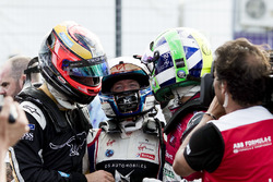 Jean-Eric Vergne, Techeetah, celebra con Sam Bird, DS Virgin Racing, Lucas di Grassi, Audi Sport ABT Schaeffler