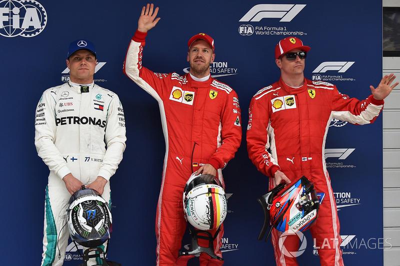 Pole pozisyonu galibi Sebastian Vettel, Ferrari, 2. Kimi Raikkonen, Ferrari, 3. Valtteri Bottas, Mercedes AMG F1