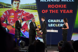 Chase Carey, Chairman, Formula One, presents the Rookie of the Year Award to Charles Leclerc