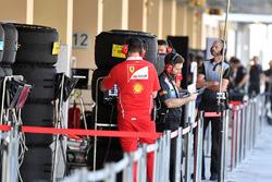 Ferrari with Pirelli engineer and Pirelli tyres