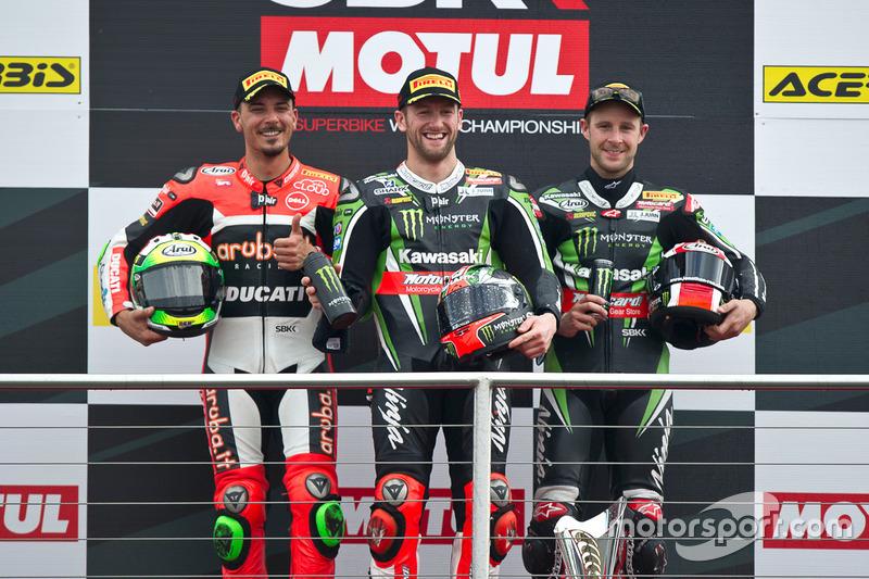 Podium : Sieger Tom Sykes, Kawasaki Racing Team, 2. Davide Giugliano, Aruba.it Racing - Ducati Team, 3. Jonathan Rea, Kawasaki Racing Team