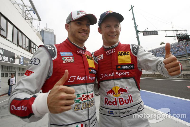 Top 2 im Qualifying: Edoardo Mortara, Audi Sport Team Abt Sportsline, Audi RS 5 DTM; Mattias Ekström, Audi Sport Team Abt Sportsline, Audi A5 DTM