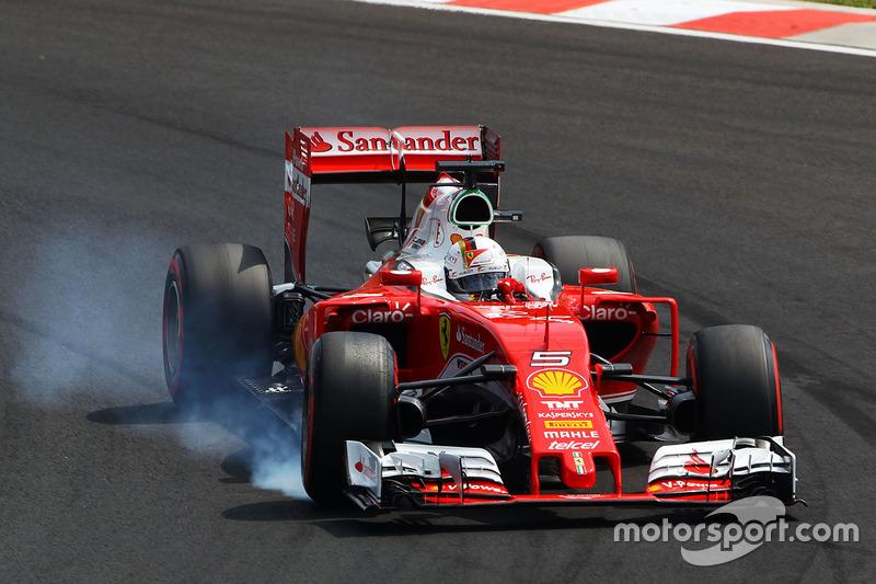 Sebastian Vettel, Ferrari SF16-H locks up under braking