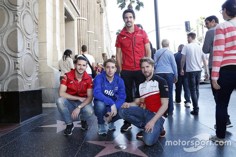 Daniel Abt, Lucas di Grassi, ABT Schaeffler Audi Sport, Nick Heidfeld, Mahindra Racing, Robin Frijns, Amlin Andretti Formula E Team en el Paseo de la Fama