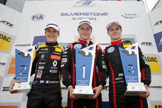 Podium: Race winner Jüri Vips, Motopark Dallara F317 - Volkswagen, second place Sacha Fenestraz, Carlin Dallara F317 - Volkswagen, third place Jonathan Aberdein, Motopark Dallara F317 - Volkswagen